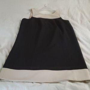 LOFT black and cream color block dress. Size 14